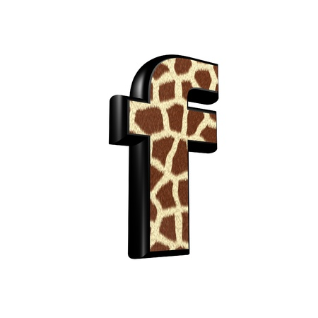 3d letter with giraffe fur texture - f photo