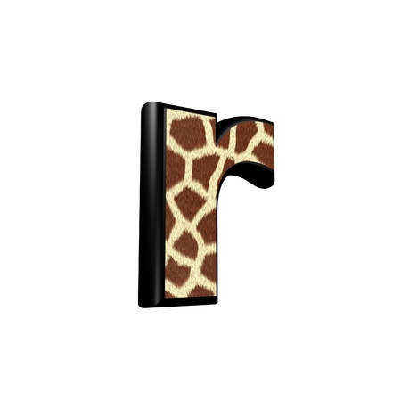 3d letter with giraffe fur texture - r photo
