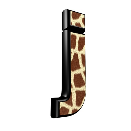 3d letter with giraffe fur texture - j photo