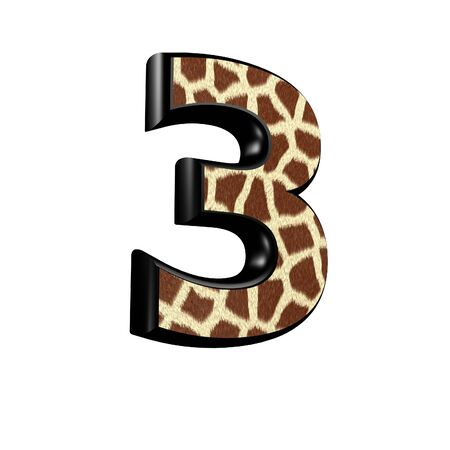 3d digit  with giraffe fur texture - 3 photo