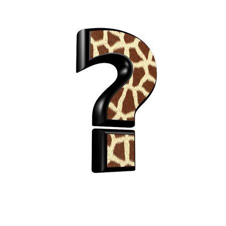 point d interrogation: Point d'interrogation 3d avec la texture de la fourrure girafe