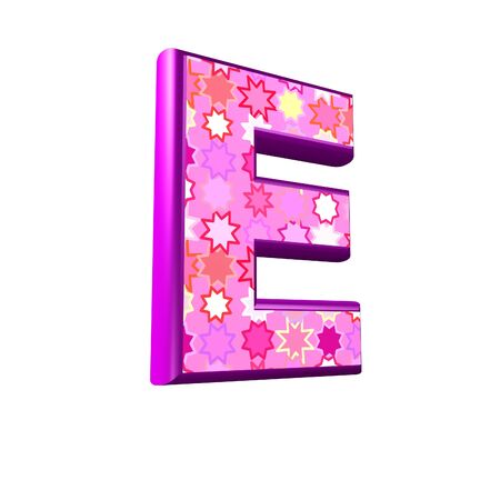 3d pink letter isolated on a white background - e photo