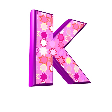 3d pink letter isolated on a white background - k photo