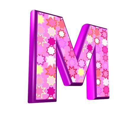 fest: 3d pink letter isolated on a white background - m Stock Photo