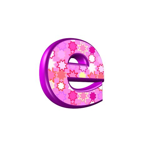letter case: 3d pink letter isolated on a white background - e Stock Photo
