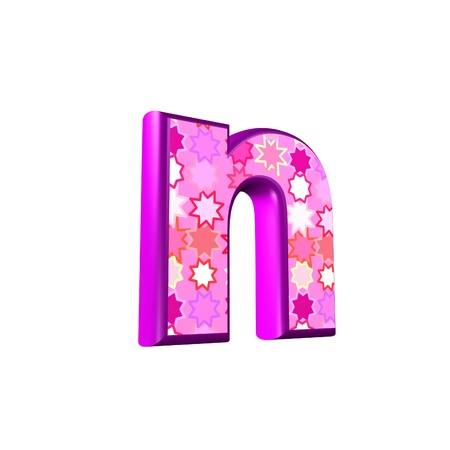 fest: 3d pink letter isolated on a white background - n Stock Photo