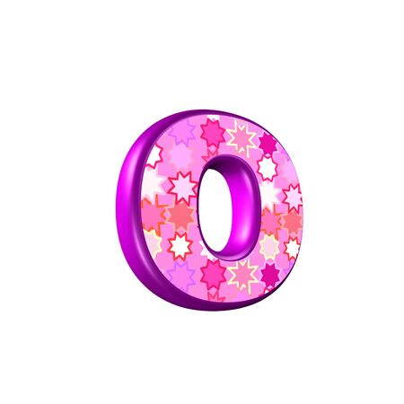 rendered: 3d pink letter isolated on a white background - o