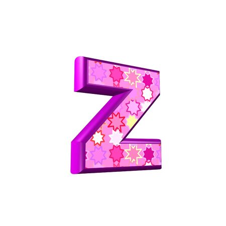 alphabet wallpaper: 3d pink letter isolated on a white background - z