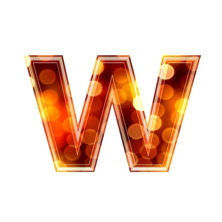 3d letter with glowing lights texture - w photo