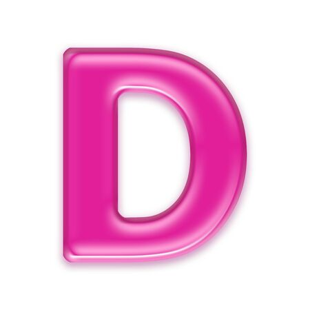 osx: pink jelly letter isolated on white background - d