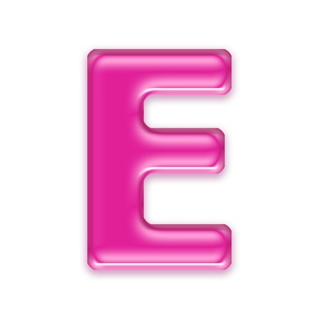 letter e: pink jelly letter isolated on white background - e