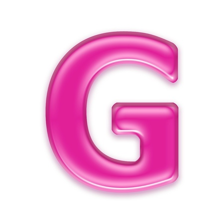 pink jelly letter isolated on white background - g