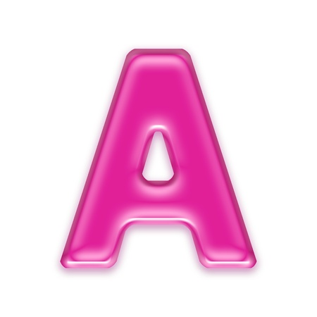 pink jelly letter isolated on white background - a Standard-Bild