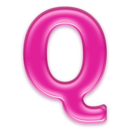 osx: pink jelly letter isolated on white background - Q Stock Photo