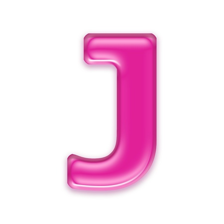 osx: pink jelly letter isolated on white background - J Stock Photo