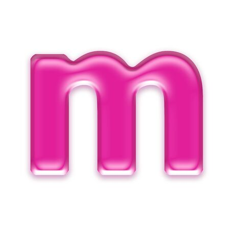 osx: pink jelly letter isolated on white background - m