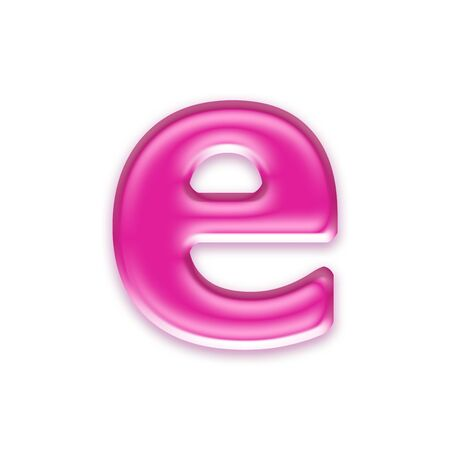 osx: pink jelly letter isolated on white background - e