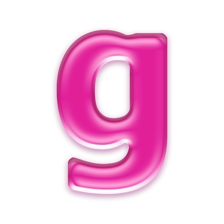 liquid g: pink jelly letter isolated on white background - g