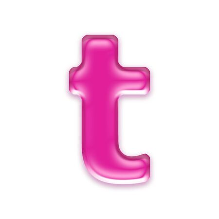 osx: pink jelly letter isolated on white background - t Stock Photo