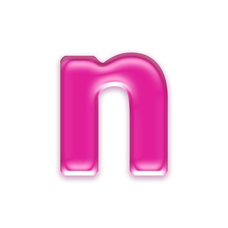 osx: pink jelly letter isolated on white background - n