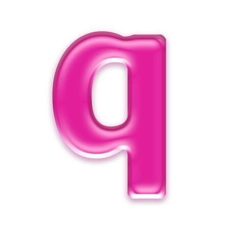 osx: pink jelly letter isolated on white background - q