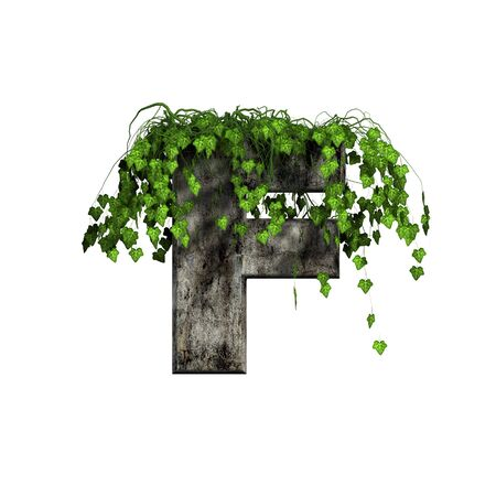ivy wall: green ivy on 3d stone letter - f