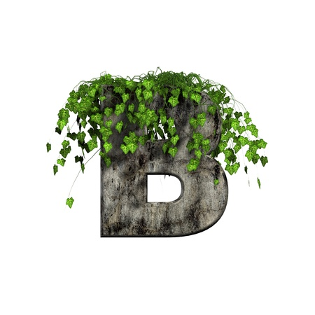 green ivy on 3d stone letter - b photo