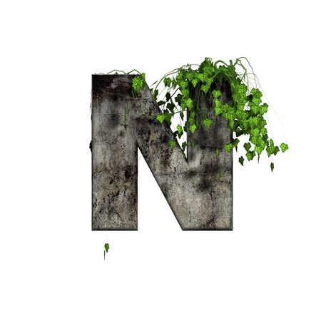 green ivy on 3d stone letter - n Stock Photo - 11994700