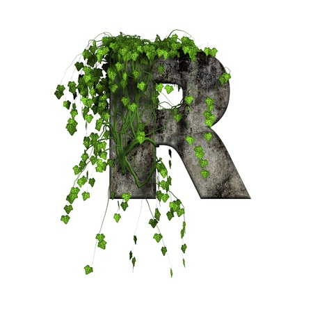 green ivy on 3d stone letter - r Stock Photo