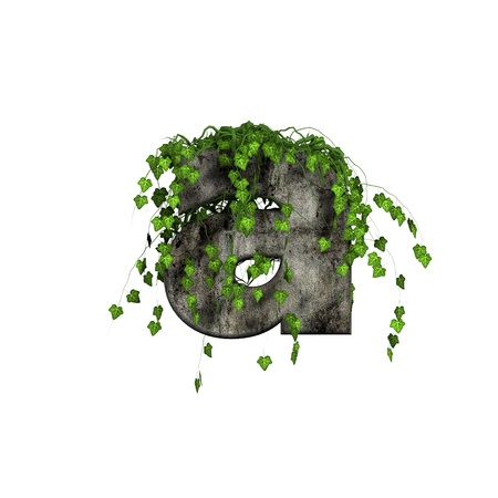 cracked wall: green ivy on 3d stone letter - a