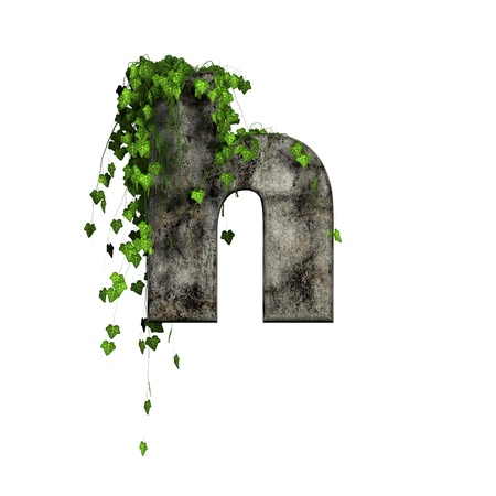 green ivy on 3d stone letter - h photo