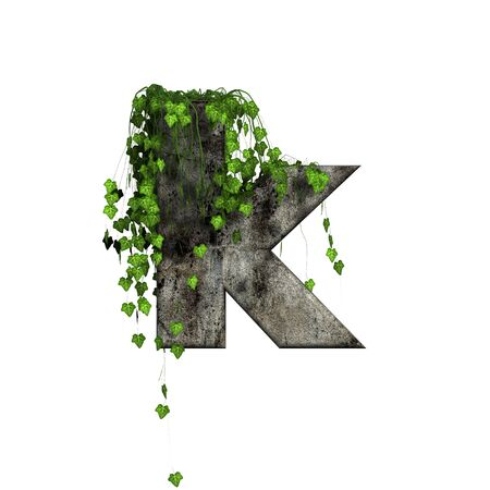 green ivy on 3d stone letter - k Stock Photo - 11994715