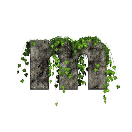 green ivy on 3d stone letter - m