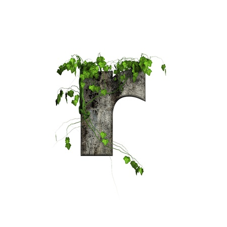 ivy wall: green ivy on 3d stone letter - r Stock Photo