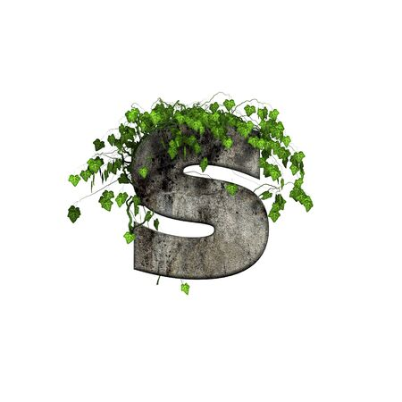 green ivy on 3d stone letter - s Stock Photo - 11994692