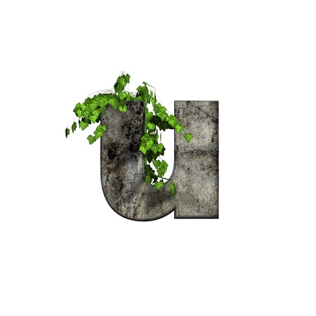 cracked wall: green ivy on 3d stone letter - u