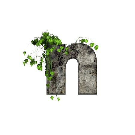cracked wall: green ivy on 3d stone letter - n Stock Photo