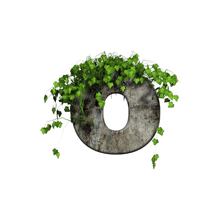 lower: green ivy on 3d stone letter - o Stock Photo