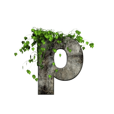 cracked wall: green ivy on 3d stone letter - p Stock Photo