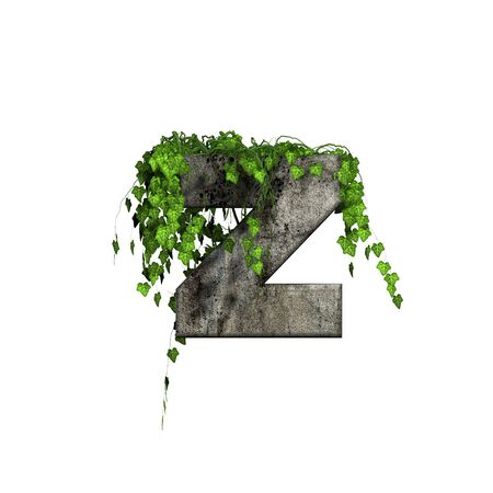 green ivy on 3d stone letter - z photo