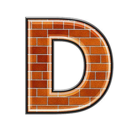 abstract lettera 3d con texture muro di mattoni - D