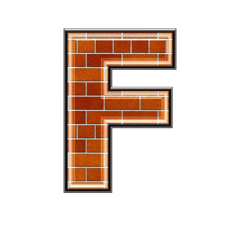 upper case: abstract 3d letter with brick wall texture - F
