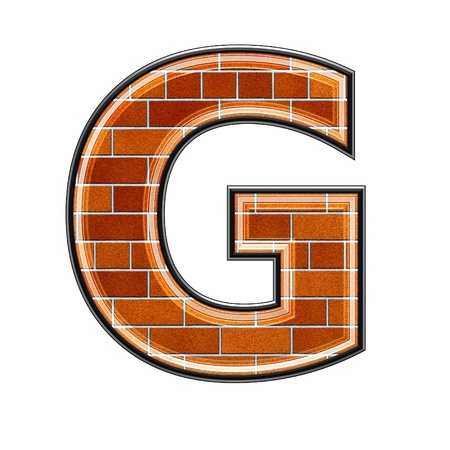 architecture alphabet: abstract 3d letter with brick wall texture - G Stock Photo