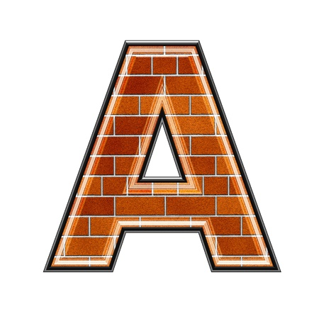 upper case: abstract 3d letter with brick wall texture - A