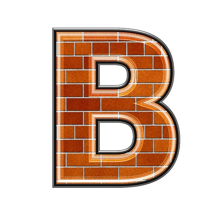 abstract 3d letter with brick wall texture - B