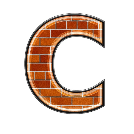 white brick: abstract 3d letter with brick wall texture - C