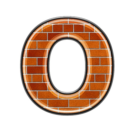 upper: abstract 3d letter with brick wall texture - O