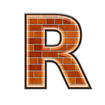 uppercase: abstract 3d letter with brick wall texture - R