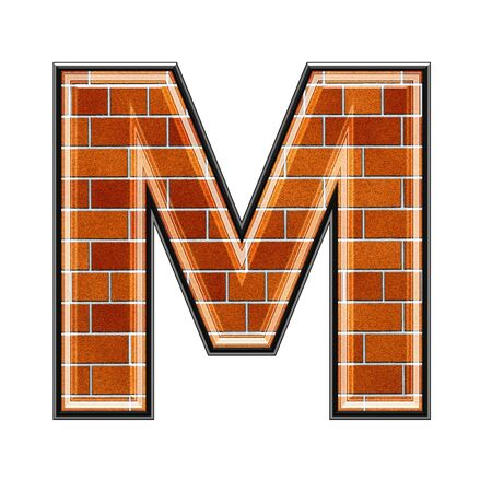 architecture alphabet: abstract 3d letter with brick wall texture - M