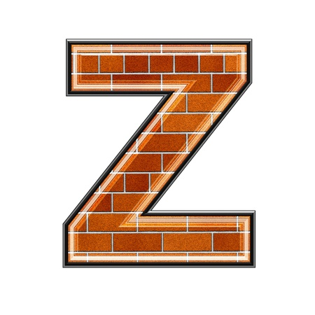 upper: abstract 3d letter with brick wall texture - Z